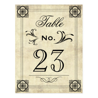 Typography Parchment Vintage Wedding Table Numbers Postcard