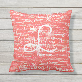 Typography Pattern Of Names On Coral Throw Pillow at Zazzle