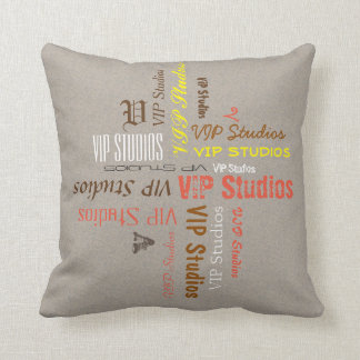 Typography Personal Name Collage on any Color Pillow