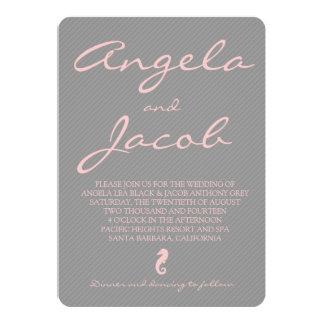Typography Pink Grey Seahorse Nautical Wedding 5x7 Paper Invitation Card