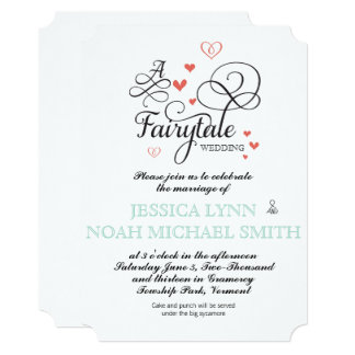 Typography Quote Mint and Coral FairyTale Wedding Card