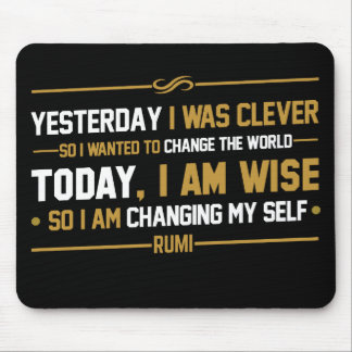 typography quote rumi : wise and clever mouse pad