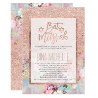 Typography rose gold floral watercolor Bat Mitzvah Card