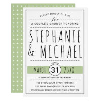 Typography sage green wedding couple's shower card