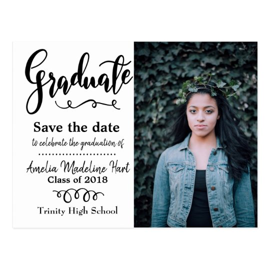 typography save the date graduation party photo postcard zazzle com