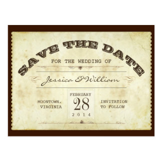typography save the date old ticket postcards