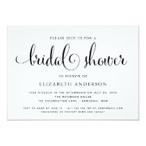 Typography script black bridal shower invitation