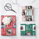 """Typography Square Photos Traditional Colors Wrapping Paper Sheets<br><div class=""""desc"""">Create your own custom wrapping paper sheets assortment with up to 5 of your photos in square format and a typography checkerboard pattern design in a traditional Christmas color palette of reds, greens and white. Sheet one has a template for up to two of your favorite photos bordered in a...</div>"""