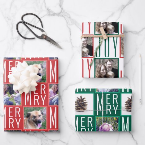 Typography Square Photos Traditional Colors Wrapping Paper Sheets