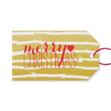 Christmas Themed Typography Striped Merry Christmas Gift Tags