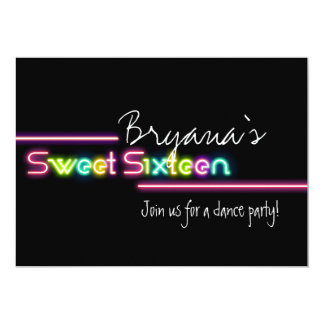 Typography Sweet 16 Neon Glow Dance Party Invite