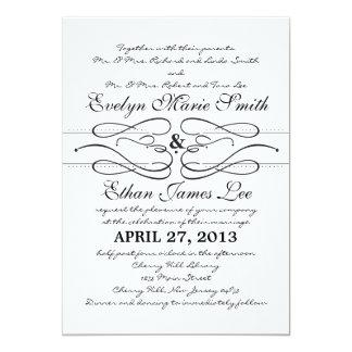 "Typography Swirl Wedding Invitation 5"" X 7"" Invitation Card"