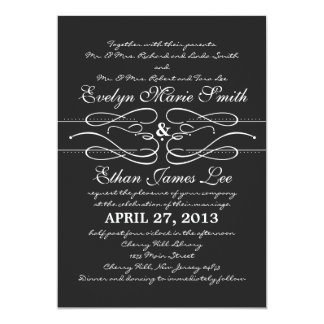"Typography Swirl Wedding Invitation in Black 5"" X 7"" Invitation Card"