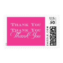 Typography Thank You White on Pink Postage