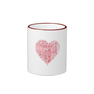 Typography Valentines Word Love Faith Kiss Always Ringer Coffee Mug
