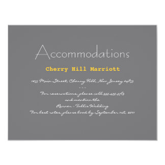 Typography Wedding Insert in Gray and Yellow Personalized Invite