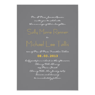 Typography Wedding Invitation in Gray and Yellow