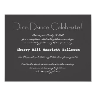 "Typography Wedding Invitation Reception Card 4.25"" X 5.5"" Invitation Card"