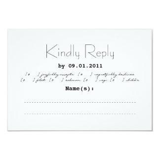 "Typography Wedding Invitation RSVP 3.5"" X 5"" Invitation Card"
