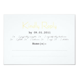 Typography Wedding RSVP in Gray and Yellow Card