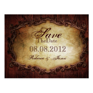typography western country wedding save the date postcard