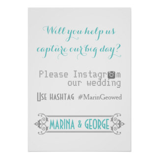 Typography with Instagram hashtag aqua wedding Poster