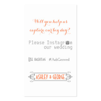 Typography with Instagram hashtag coral wedding Business Card