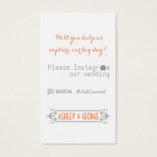typography with instagram hashtag coral wedding business card zazzle