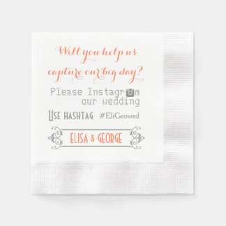 Typography with Instagram hashtag coral wedding Napkin