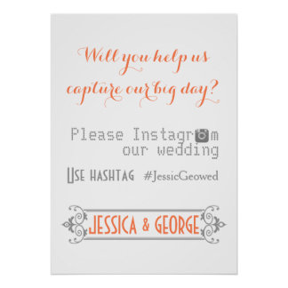 Typography with Instagram hashtag coral wedding Poster