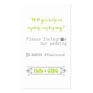 Typography with Instagram hashtag green wedding Business Card Templates