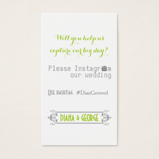 Typography with Instagram hashtag green wedding Business Card