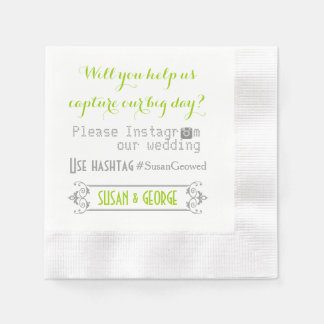 Typography with Instagram hashtag green wedding Napkin