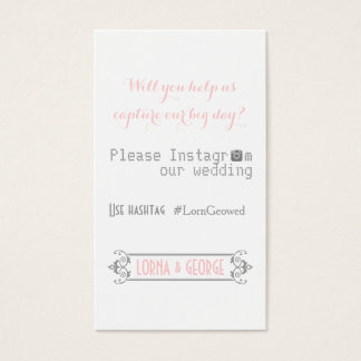 Typography with Instagram hashtag pink wedding Business Card