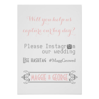 Typography with Instagram hashtag pink wedding Posters