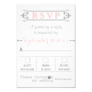 Typography with Instagram hashtag wedding RSVP Card