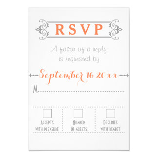 Typography with vintage frame coral wedding RSVP Card