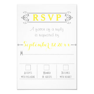 Typography with vintage frame wedding RSVP Card
