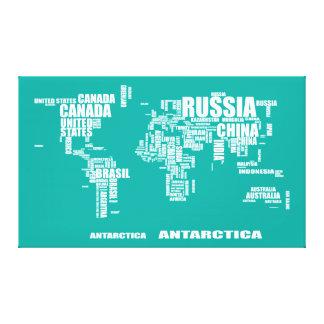 Typography World Map Canvas Print