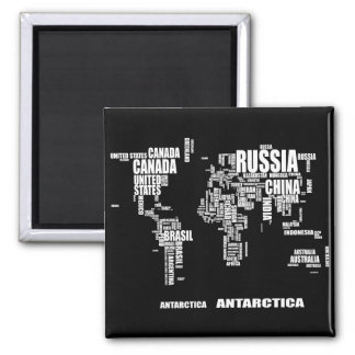 Typography World Map Magnet