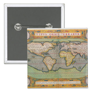 Typus Orbis Terrarum, map of the world 2 Inch Square Button