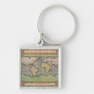 Typus Orbis Terrarum, map of the world Silver-Colored Square Keychain