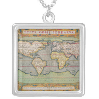 Typus Orbis Terrarum, map of the world Square Pendant Necklace