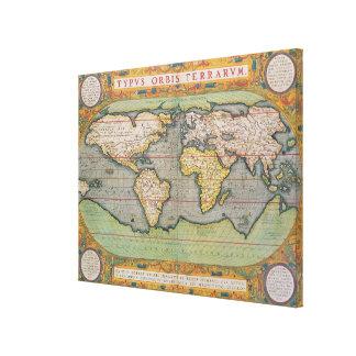 Typus Orbis Terrarum, mapa del mundo Impresiones En Lienzo Estiradas