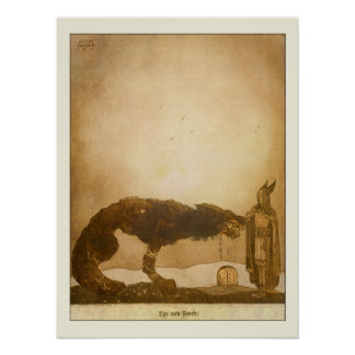 Tyr and Fenrir by John Bauer Poster