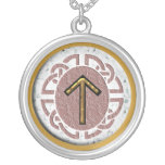 """""""tyr"""" younger futhark round pendant necklace"""