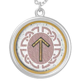 """""""tyr"""" younger futhark silver plated necklace"""
