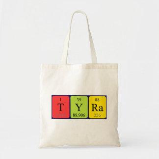 Tyra periodic table name tote bag