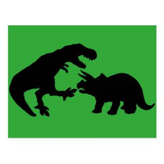 Tyrannosaur and Triceratops b Postcard