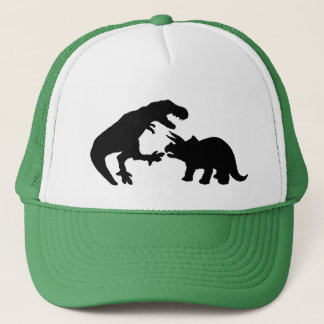 Tyrannosaur and Triceratops b Trucker Hat